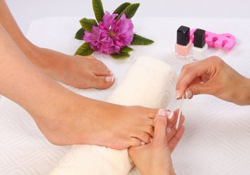 Image French/Flowers/Nail Polish Pedicure